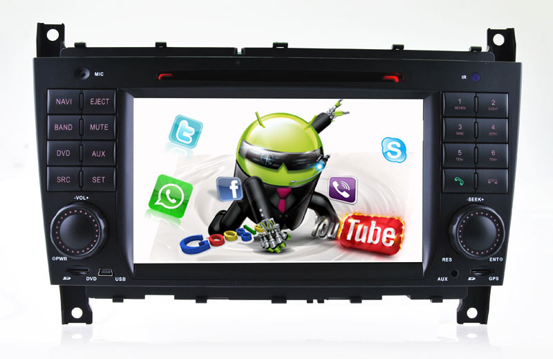 casrplay android 7.1 benz c clk gps Anti-Glare car dvd plays 3G Internet or wifi connection