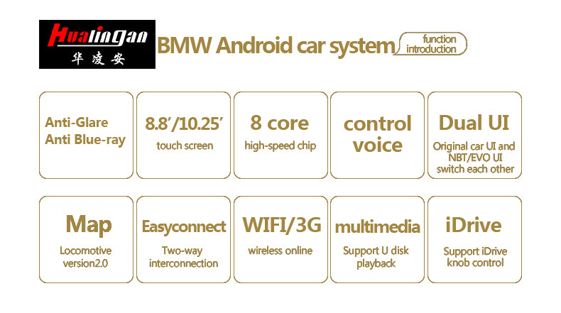 Hualingan For BMW X5 /X6 CCC 8.8 inch Android car multimedia system MTK Core 4G internet 64G storage WIFI Carplay